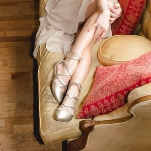 Wink d'Orsay Lace Up Classic Ballet Flats